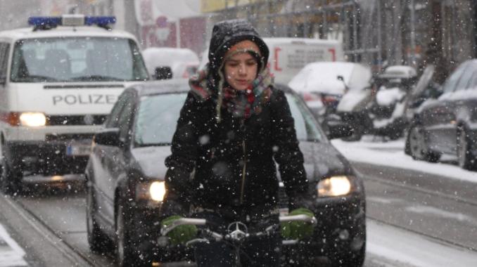 Winter, Radfahren, Wien