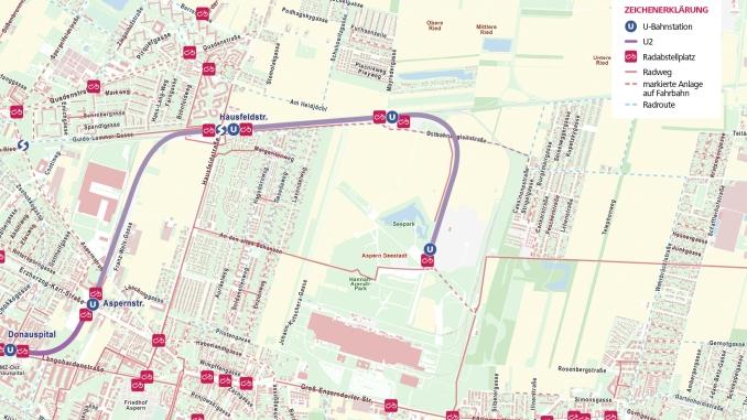 Radinfrastruktur rund um die neuen U2 - Stationen