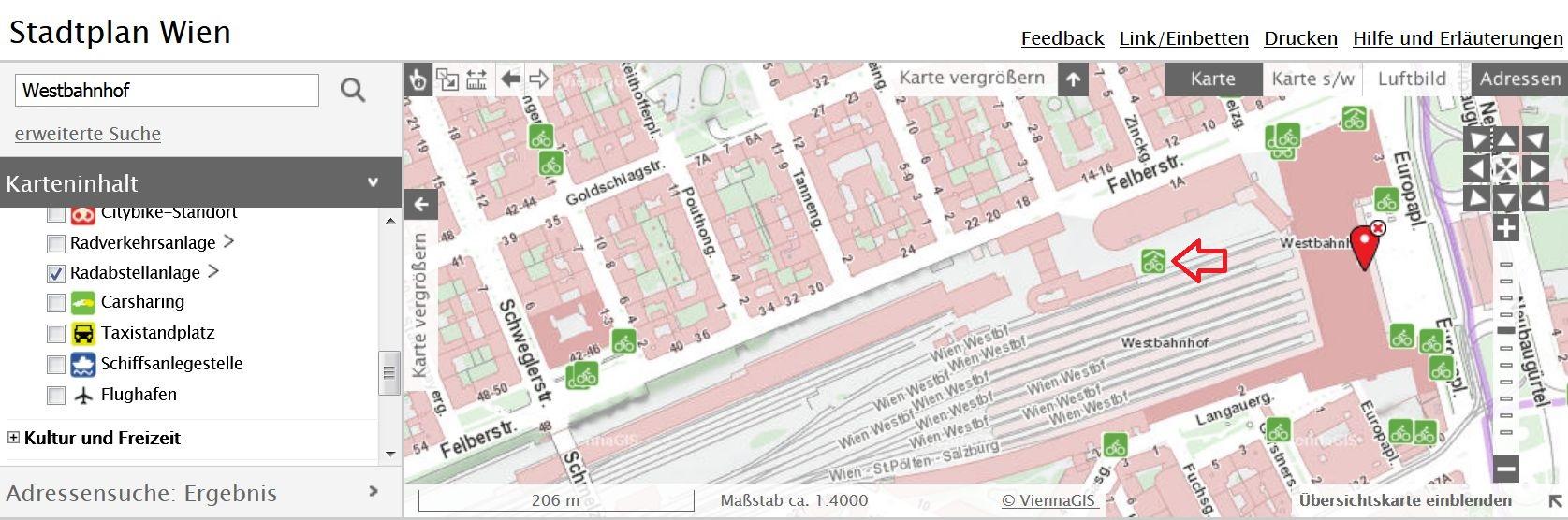 Ausschnitt des Stadtplans für Wien in dem die Bike & Ride Anlage beim Westbahnhof eingezeichnet ist