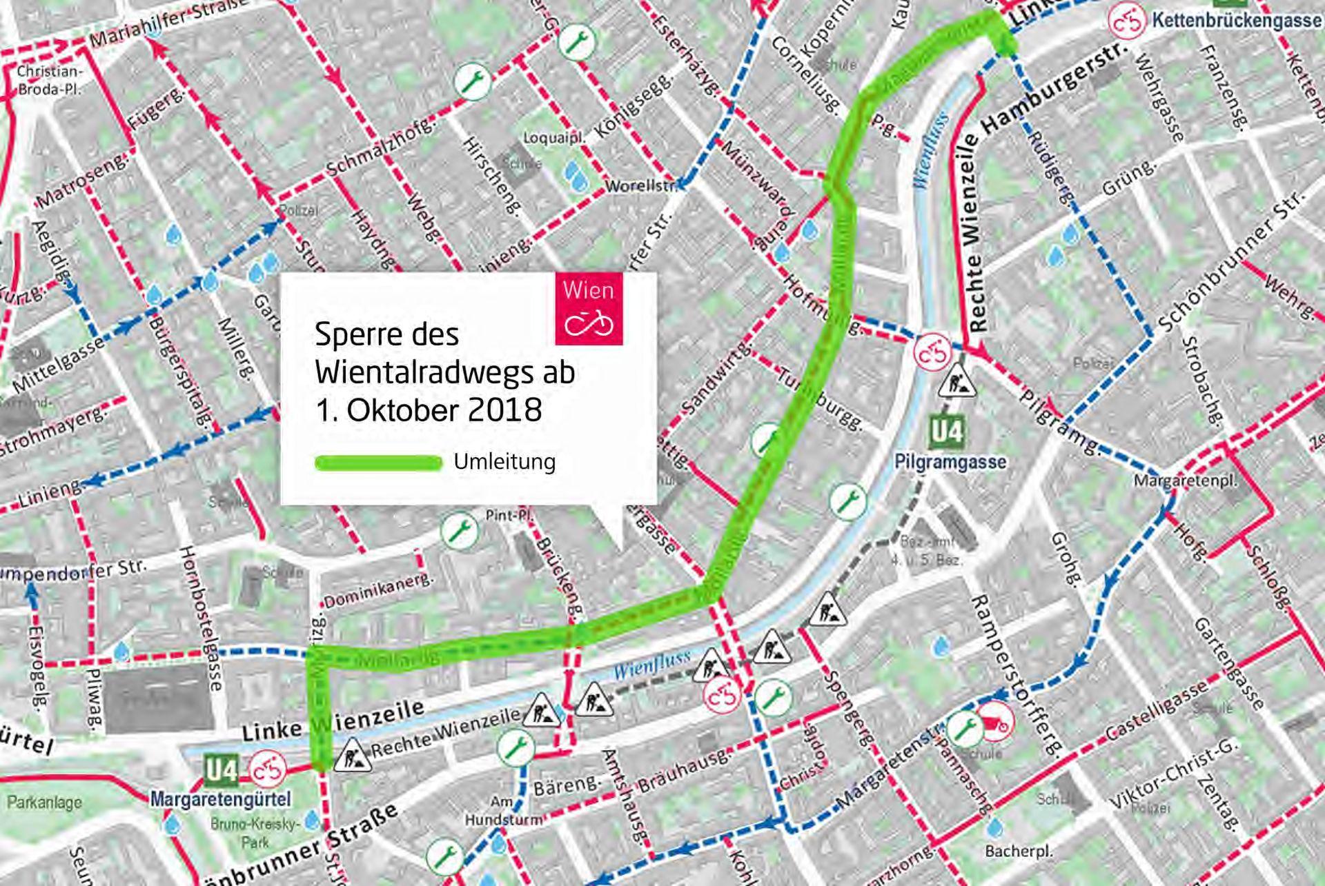 Plan zur Umleitung während der Baustellen Sperre am Wientalradweg