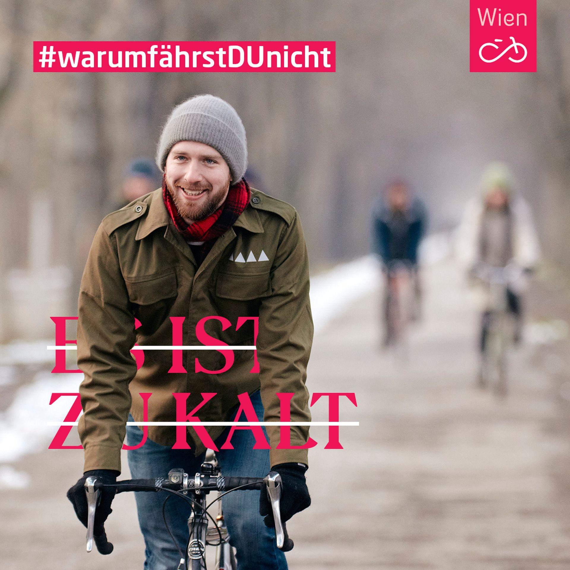 Im Winter radeln? In Wien kein Problem. Harald macht es vor. Foto: Ian Ehm