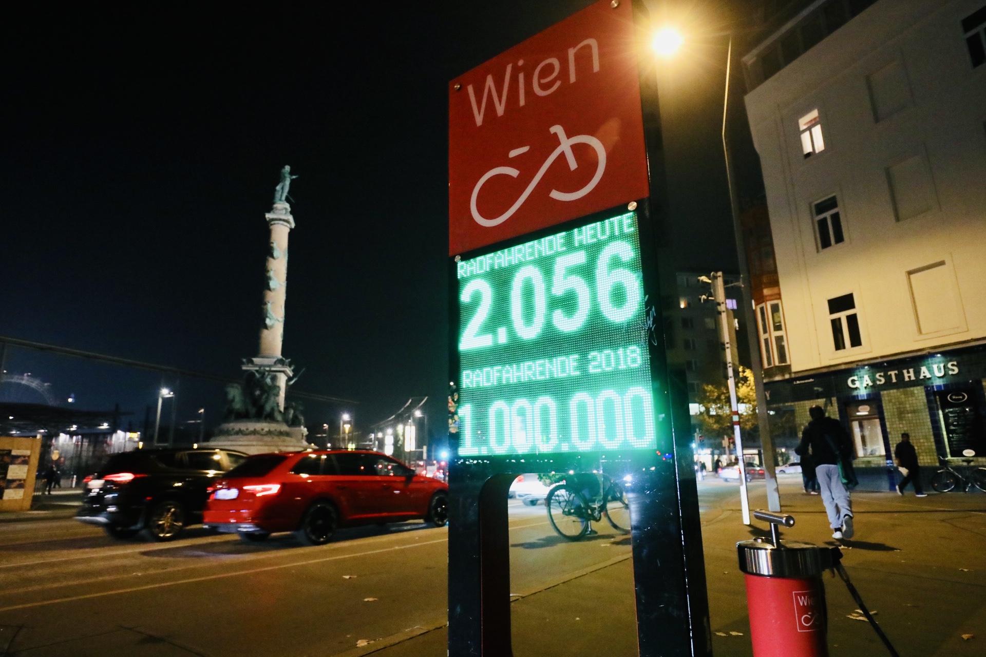 Am 9.11.2018 wurde an der Zählstelle Praterstern die Million erreicht. D. h. es kamen an dieser Stelle, in diesem Jahr bereits eine Million Radfahrerinnen vorbei. Foto: Christian Fürthner