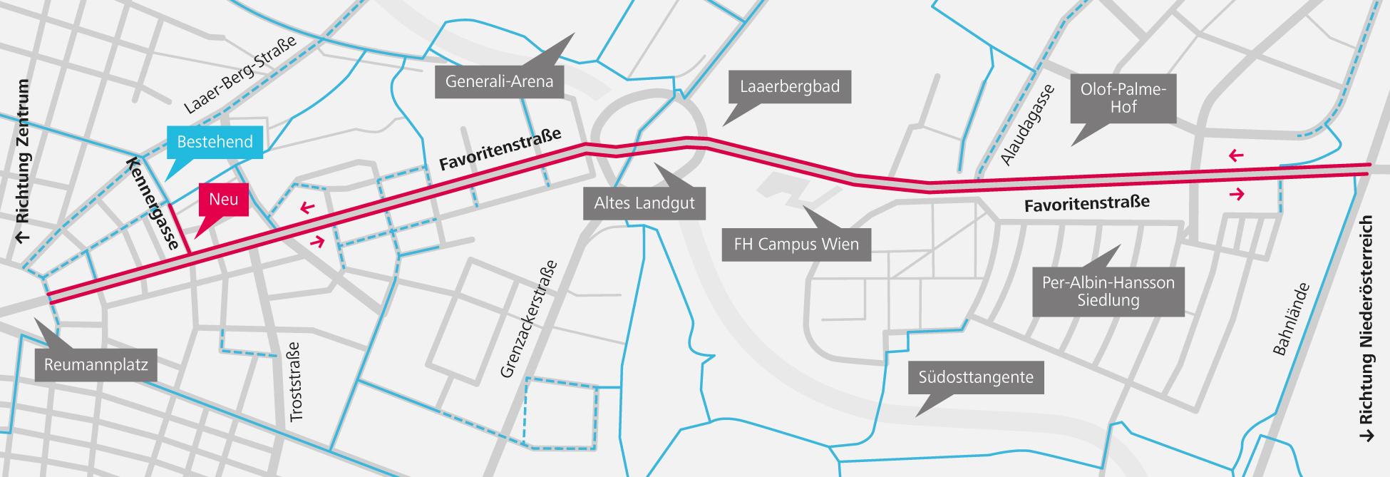 Eine vereinfachte Plandarstellung des Gebiets in Favoriten, in dem neuen Radwege entstanden sind. Erstellt von Johannes Essl