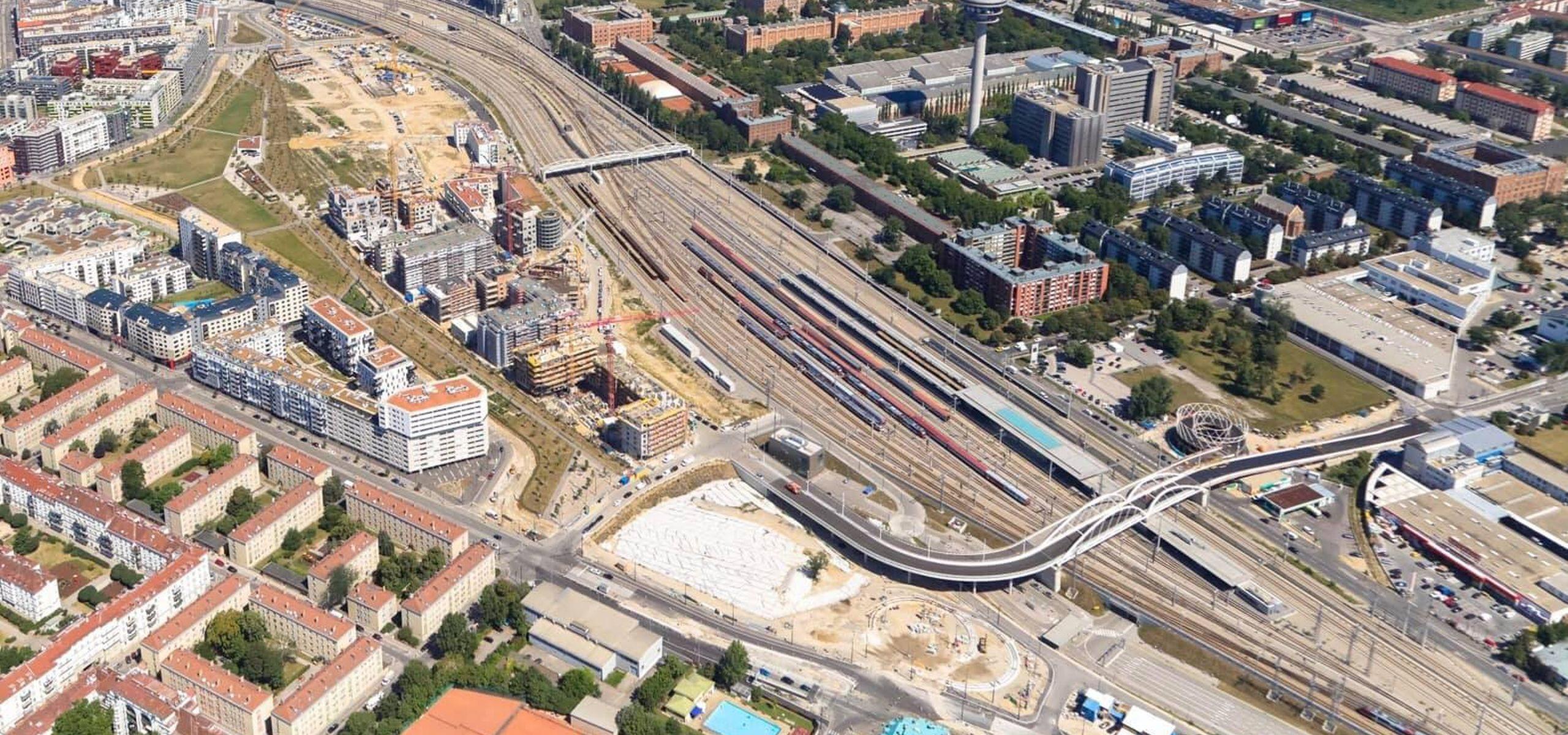 Luftbild vom Hauptbahnhofgelände