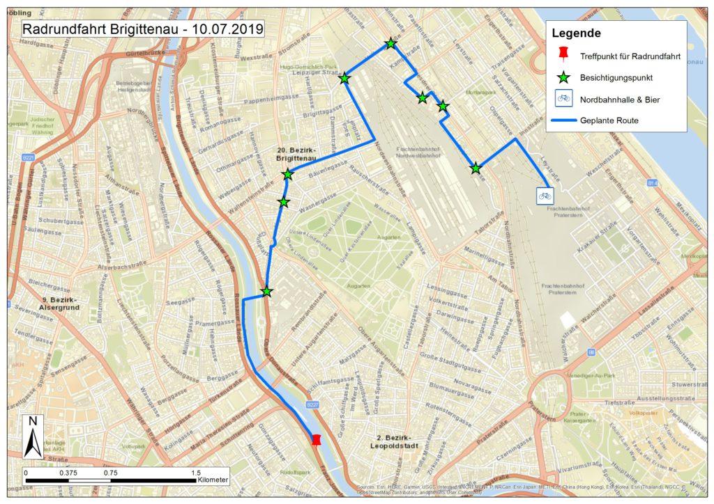Landkarte, die die Route der Radrundfahrt darstellt.