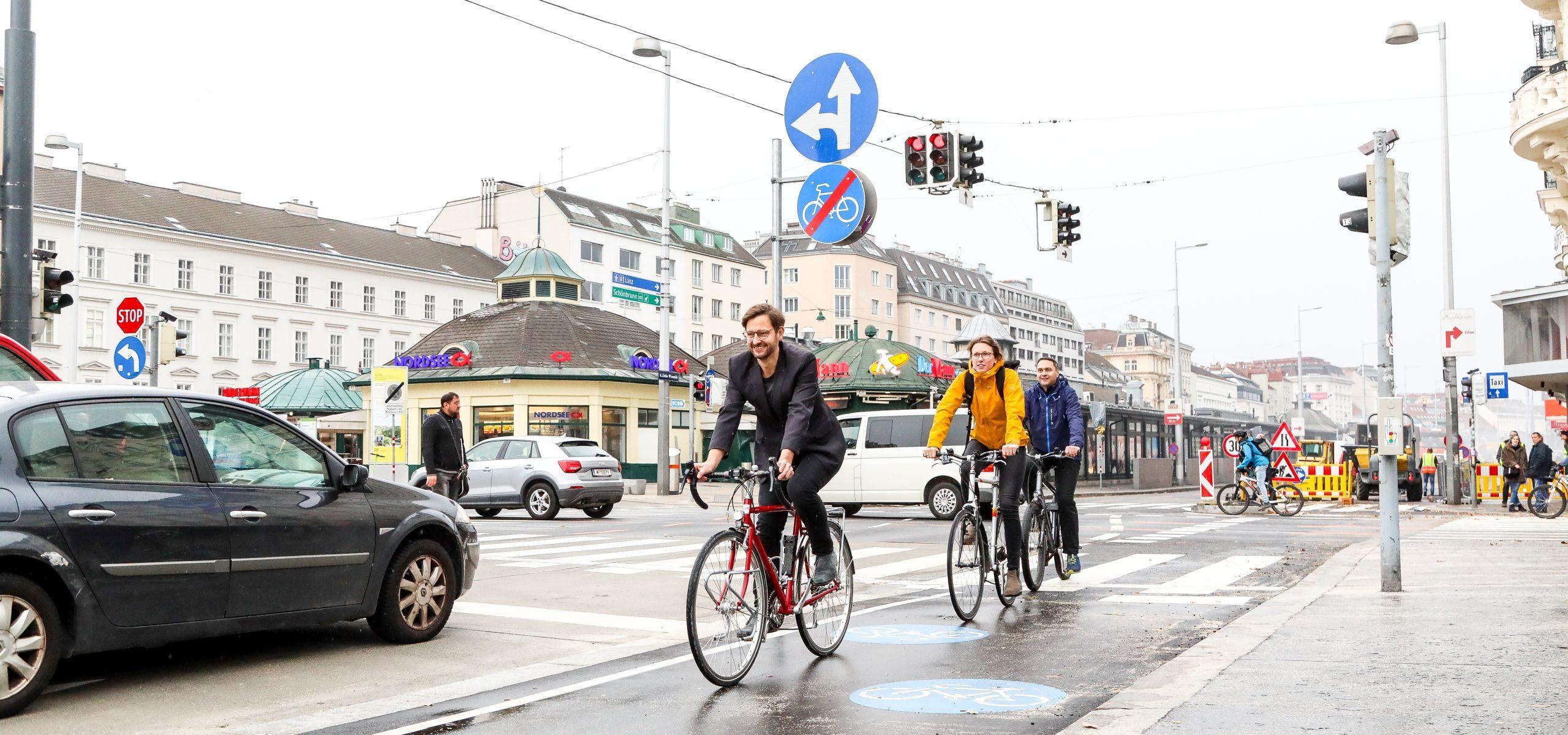 Erster Abschnitt des Radwegs am Naschmarkt ist fertig gestellt.