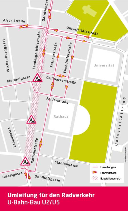 Plan Umleitung Radverkehr U-Bahn-Bau_Stand Dezember 2020_Mobilitätsagentur Wien