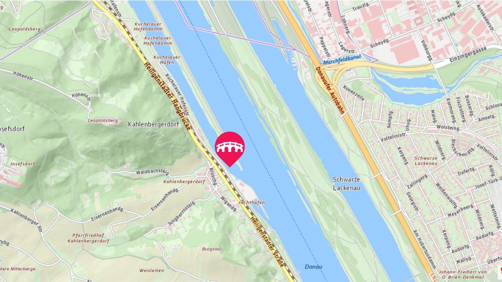 Stadtplan Wien zeigt die Position der neuen Brücke für den Rad- und Fußverkehr