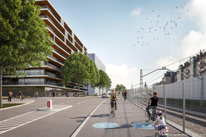 Visualisierung zum geplanten neuen Radweg in der Adolf-Blamauer-Gasse