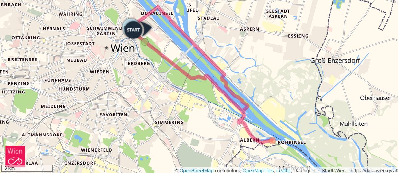 Karte mit der Route vom Praterstern zum Friedhof der Namenlosen