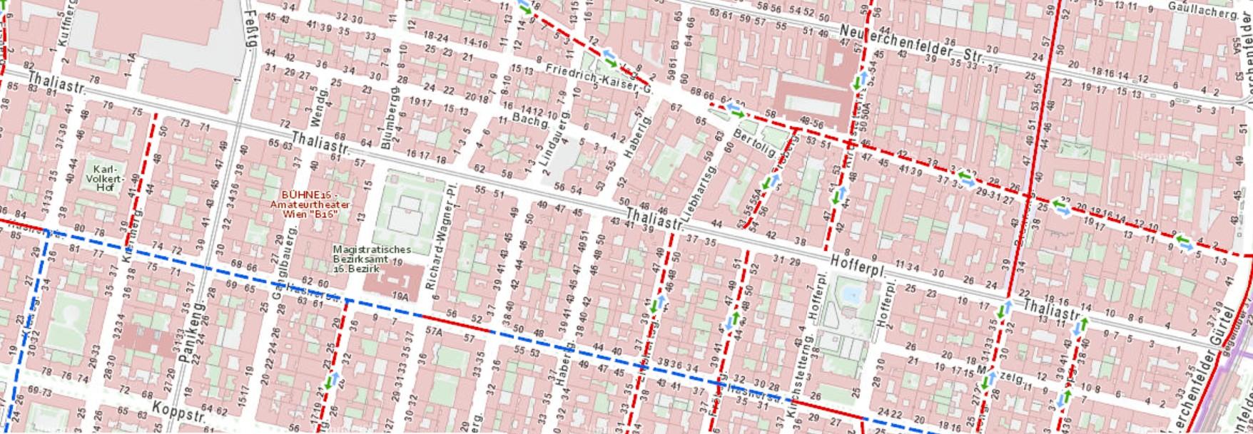 Ausschnitt aus dem Stadtplan Wien mit Radverkehrsanlagen und geöffneten Einbahnen