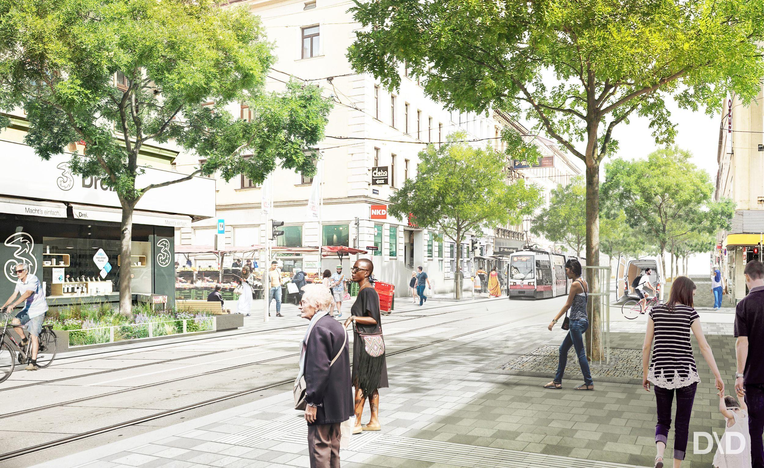 Visualisierung Thaliastraße auf Höhe Brunnengasse (© DnD Landschaftsarchitektur)