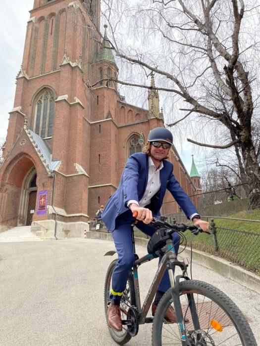 David am Fahrrad