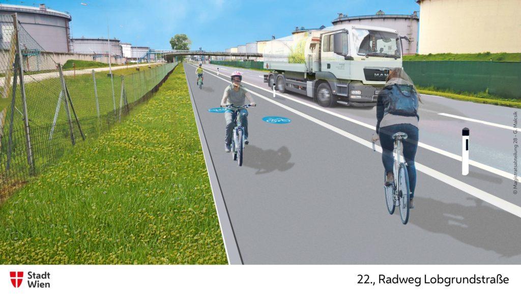 Grafische Visulaisierung des zukünftigen Radwegs im 22. Bezirk.