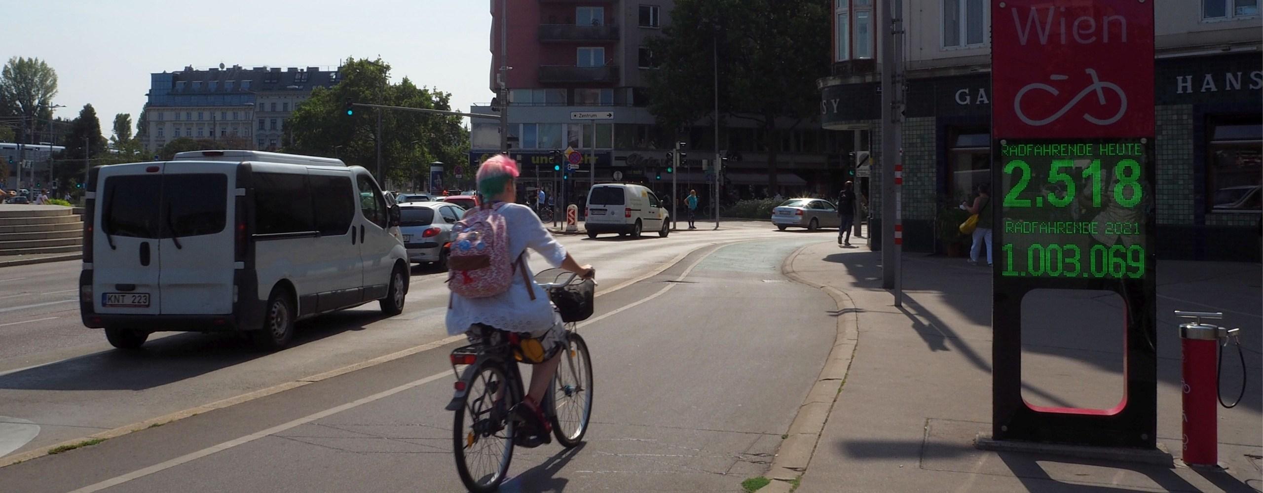 Zählstelle am Praterstern zeigt über eine Million Radfahrende 2021