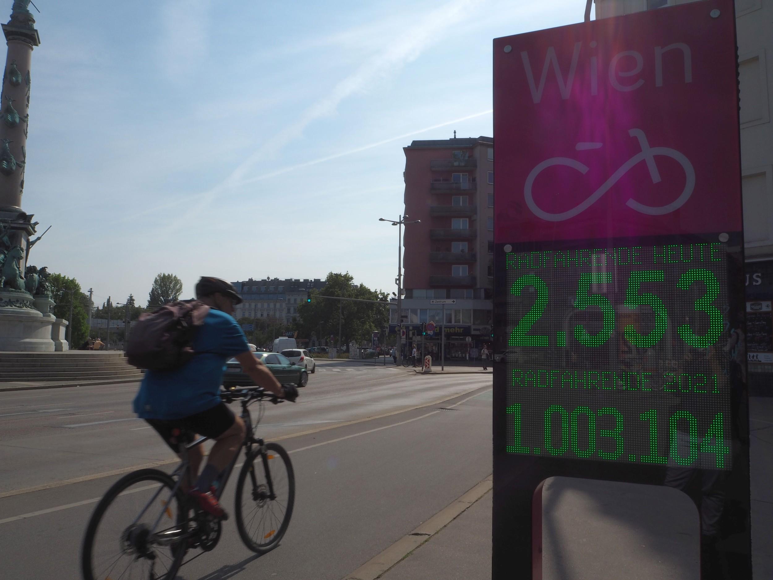 Radfahrer bei der Zählstelle Praterstern, die über eine Million Radfahrende im Jahr 2021 zeigt